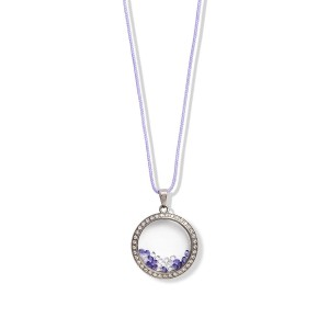 CRYSTAL CHARM PURPLE CORD NECKLACE