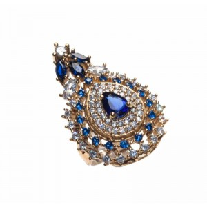 GOLD PLATED AND BLUE CRYSTAL ORIENTAL RING
