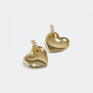Gold plated solid heart earrings.