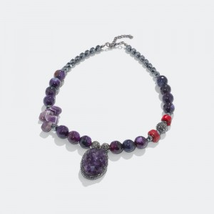 Necklace with amethyst and marcasite stones