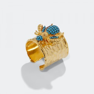 Pave bee ring - turquoise