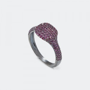 Rectangle Pave Ring - Ruby