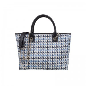 BLACK & BLUE TWEED SHOULDER BAG