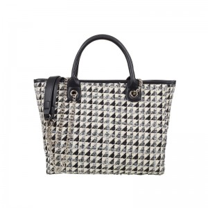 BLACK & WHITE TWEED SHOULDER BAG
