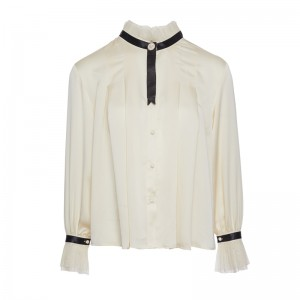 SILK ECRU SHIRT WITH BLACK NECKTIE
