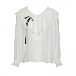 SHIRT WITH VOLAN AND BLACK RIBBON