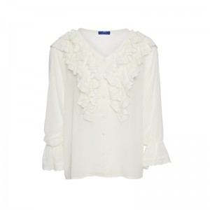 SHIRT WITH WHITE LACE AND VOLAN