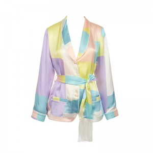 TERPSICHORI PASTEL SILK SATIN PAJAMA TOP