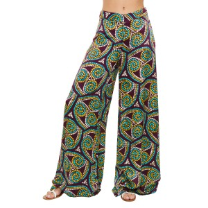 """Aktaia"" bordeaux kaleidoscope print pants"