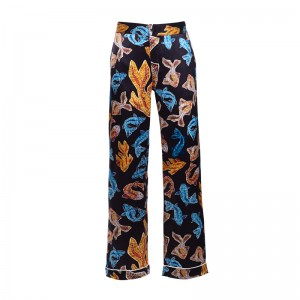 TERPSICHORI BLACK SILK SATIN PAJAMA PANTS