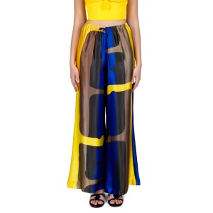 "Aktaia ""Delos"" print silk satin wide-leg pants"
