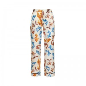 TERPSICHORI WHITE FISH SILK SATIN PAJAMA PANTS