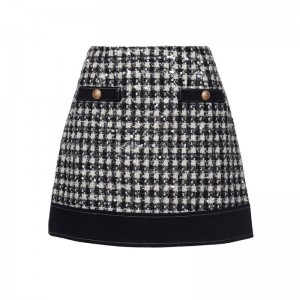 BLACK-WHITE SKIRT TWEED WITH SEQUINS