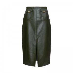 GREEN LEATHER LOOK PENCIL SKIRT