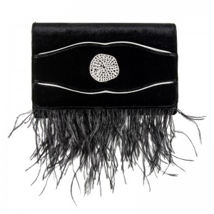 VELVET CLUTCH BAG / BLACK