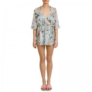 APHRODITE LIGHT BLUE APPLIQUÉD FLORAL-PRINT CHIFFON COVER UP