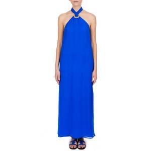 AEGLE BLUE SILK MAXI DRESS