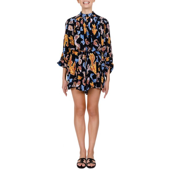 AEROPI BLACK CREPE DE CHINE SILK PLAYSUIT