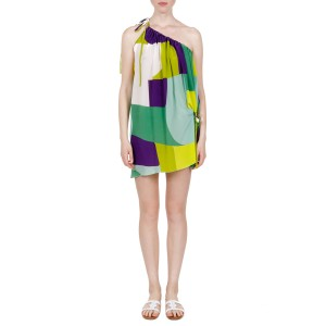 Dimitra multicolor crepe de chine mini dress