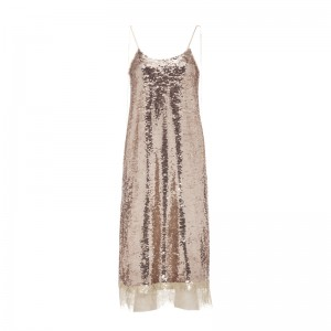 GOLD-BEIGE SEQUINED DRESS