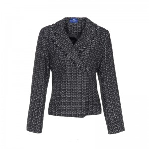 BLACK-SILVER WOOL BLAZER