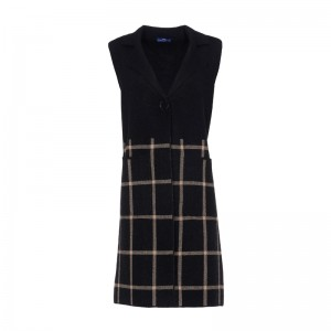 VEST BLACK WITH  CHECKERED PATTERN