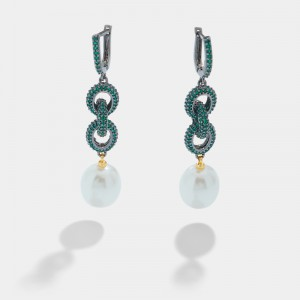 Green zircon chain earrings with pearl