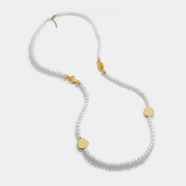 FRESH WATER PEARL AND GOLD PLATED ELEMENTS NECKLASE
