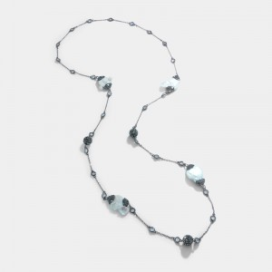 MOTHER OF PEARL, CRYSTAL AND MARCASITE NECKLACE