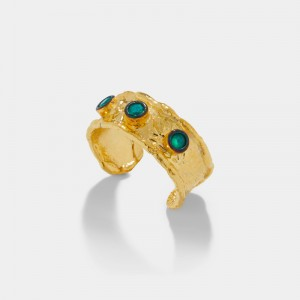 GOLD PLATED RING GREEN ZIRCON CRYSTALS