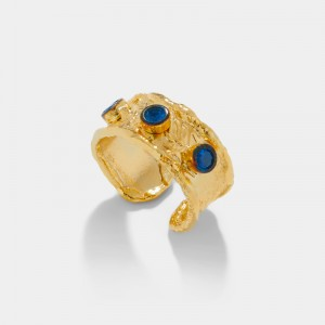 GOLD PLATED RING BLUE ZIRCON CRYSTALS