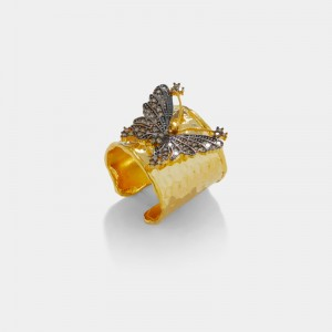 Pave butterfly ring - champagne