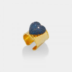 Pave heart ring - blue