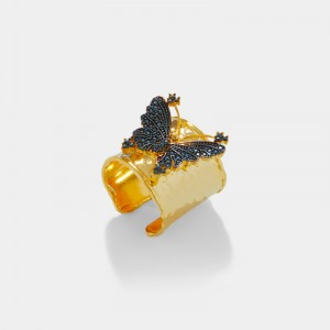 Pave butterfly ring - black