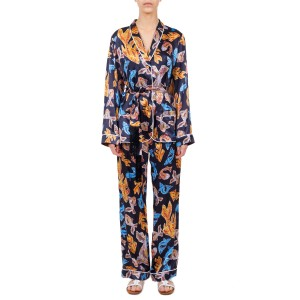 TERPSICHORI BLACK SILK SATIN PAJAMA TOP