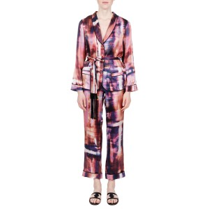 Terpsichori purple print silk satin pajama set