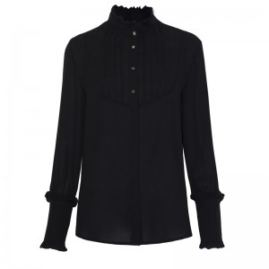 BLACK SHIRT WITH SMOCKING