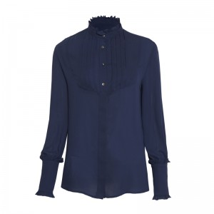 BLUE SHIRT WITH SMOCKING