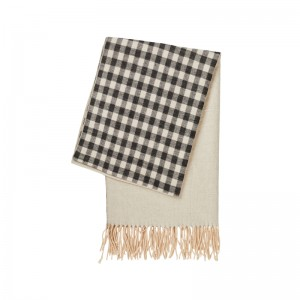BLACK PLAID CASMIR SCARF
