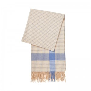BEIGE & BLUE PLAID CASMIR SCARF
