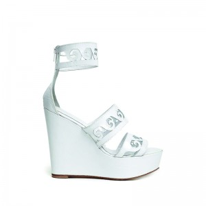 """ANTHEMIO"" WHITE PLATFORM SANDALS classics"